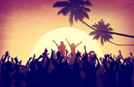 beach party: Beach Summer Music Concert Outdoors Recreational Pursuit Concept Stock Photo