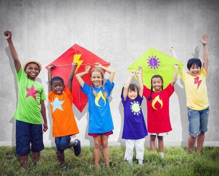 Children Friends Kite Colourful Kids Smiling Concept photo