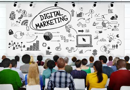 digital school: People Seminar Conference Digital Marketing Strategy Concept Stock Photo