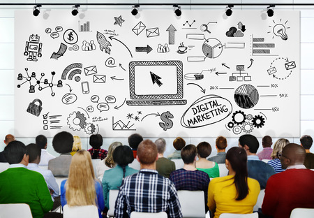 digital learning: People Seminar Conference Digital Marketing Strategy Concept Stock Photo