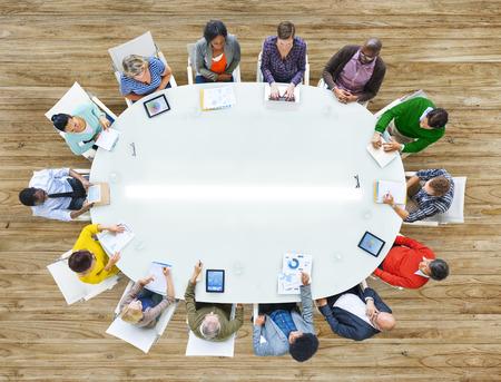 working space: Aerial View People Working Sharing Connection Conference Table Stock Photo