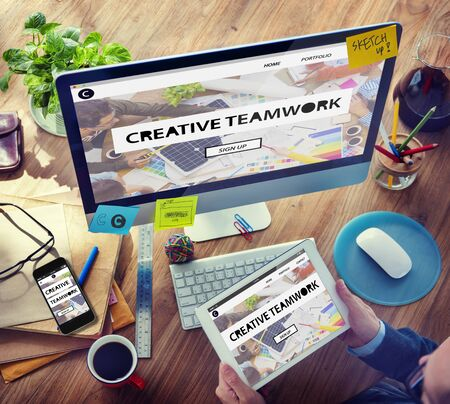 using mobile phone: Digital Devices Vision Creative Teamwork Tactic Ideas Concept