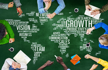 economy growth: Global Business People Corporate Meeting Success Growth Concept Stock Photo