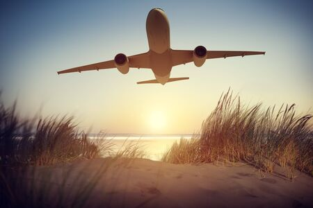 Vliegtuig Reizen Outdoors Concept Stockfoto