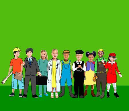 other keywords: Children Kids Dream Jobs Diversity Occupations Concept Stock Photo