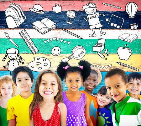 Niños Educación Escuela Juguetes Stuff Concepto joven Foto de archivo