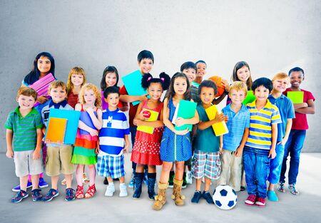 culture school: Multiethnic Children Smiling Happiness Friendship Concept