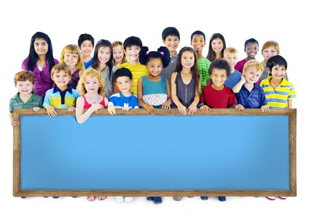 asian child: Diversity Friendship Group of Kids Education Blackboard Concept