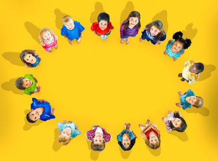 friendship circle: Children Kids Cheerful Childhood Diversity Concept Stock Photo