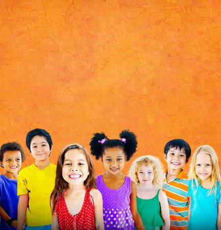 innocence: Diversity Children Friendship Innocence Smiling Concept Stock Photo
