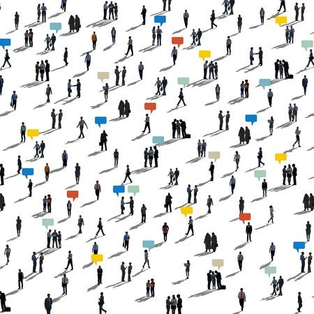 通信人多様な群集ビジネス人々 の概念