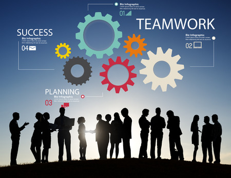 group solution: Teamwork Team Group Gear Partnership Cooperation Concept