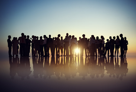 crowd of people: Silhouettes of Business People Gathering Outdoors
