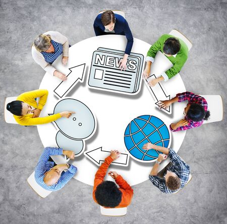 global thinking: Global News Brainstorming Business Discussion Thinking Strategy Concept Stock Photo