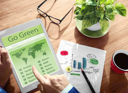 jornada de trabajo: Go Green Eco Ambiente Global Concept Tecnología