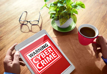 cyber crime: Digital Device Wireless Browsing Warning Cyber Crime Concept Stock Photo