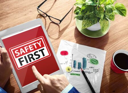online safety: Safety First Warning Digital Device Wireless Browsing Concept