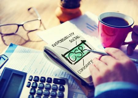 sustentabilidad: Sostenibilidad Responsabilidad Social Corporativa Responsable Oficina Concepto de Contabilidad Foto de archivo