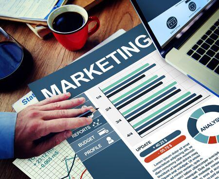 Marketing Businessman Working Calculating Thinking Planning Paperwork Concept photo