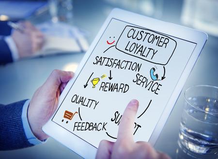 고객 충성도 만족도 지원 전략 개념 스톡 콘텐츠