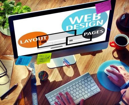 Web デザイン コンテンツ創造的な web サイトの応答性の高いコンセプト 写真素材
