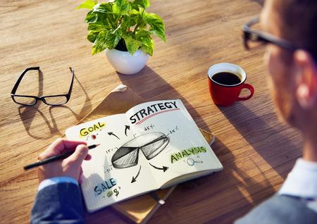 estrategia: Empresario Lluvia de ideas acerca de la estrategia de negocios