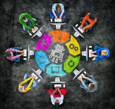 modernization: People in a Circle Using Computer with Robot Symbol