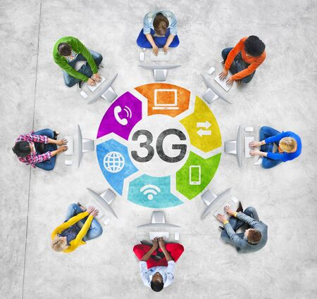 3g: Diverse People in a Circle Using Computer with 3G Concept