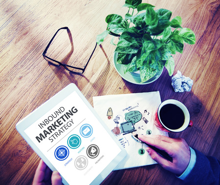 advertisement: Inbound Marketing Strategy Advertisement Commercial Branding Concept Stock Photo