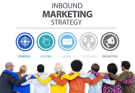estrategia: Inbound Marketing Estrategia de Publicidad Comercial Branding Concept Foto de archivo