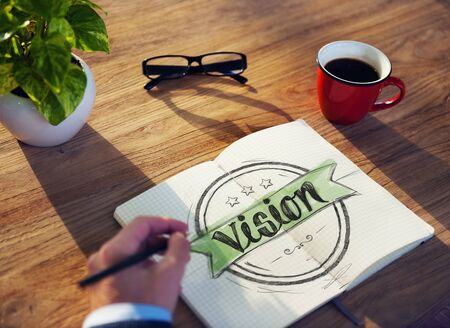 note pad: Man with Note Pad and Vision Concept Stock Photo
