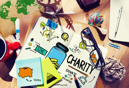 charity work: Workplace Table Support Give Help Donate Charity Concept
