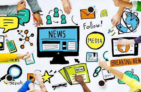 business news: News Breaking News Daily News Follow Media Searching Concept Stock Photo