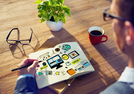 Businessman Web Design Planning Working Concept Stock Photo