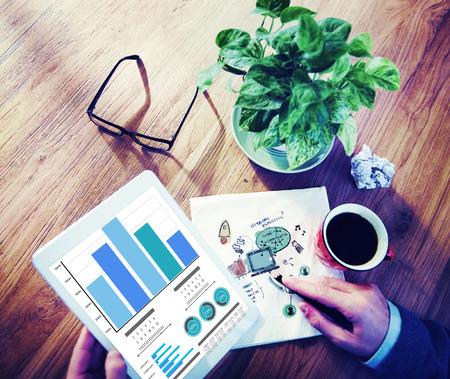 digital marketing: Marketing Growth Strategy Ideas Eletronic Device Working Concept