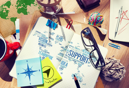Businessman Planning Notepad Global Business Support Concept photo