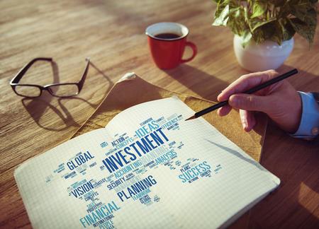 予算概念を銀行投資のグローバル ビジネスの利益 写真素材