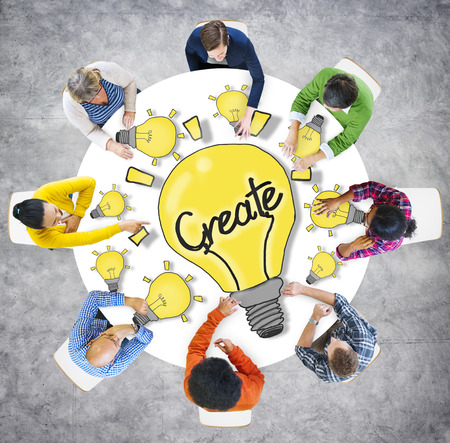 Aerial View People Creativity Breaking New Ground Concepts photo