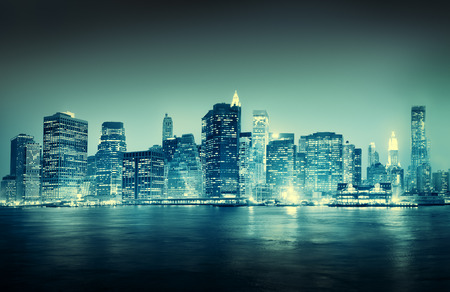 new york city panorama: City Scape New York Buildings Travel Concept