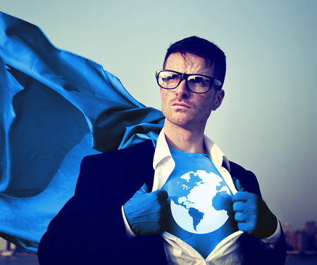 changing form: Superhero Businessman Earth Logo Concept Stock Photo