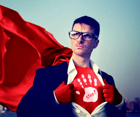 empowerment: Stop Strong Superhero Success Professional Empowerment Stock Concept