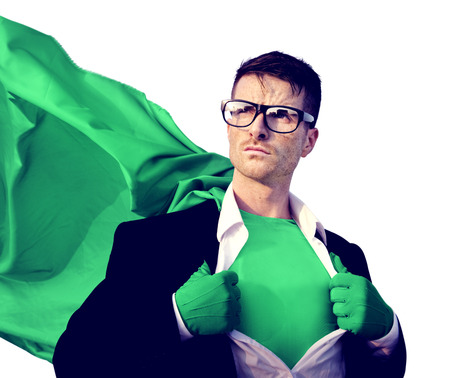 Superhero Businessman Professional Success White Collar Worker Concept