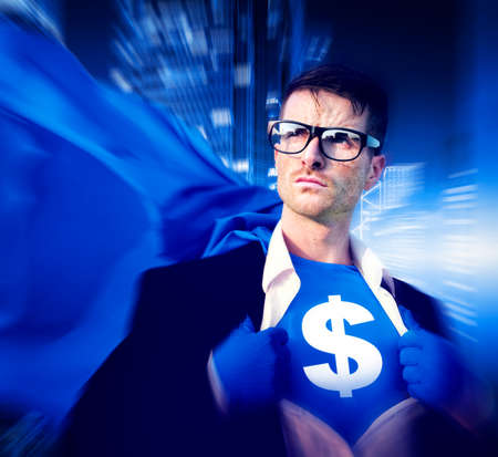 financial issues: Superhero Businessman Dollar Currency Financial Issues Concept
