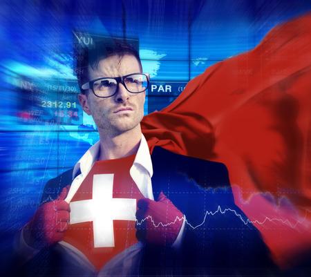 zwitserland vlag: Zakenman Superhero Land Zwitserland Flag Cultuur Vermogen Concept