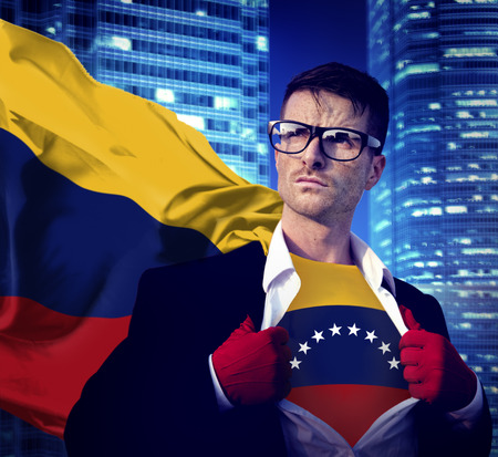 Businessman Superhero Country Venezuela Flag Culture Power Concept photo