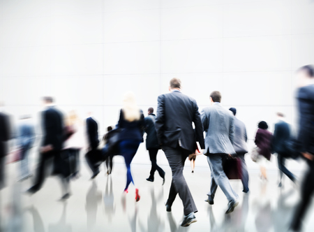 office view: Commuter Rush Hour Travel Waking Business Concept Stock Photo