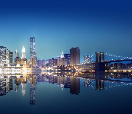 ニューヨーク シティ ライト風光明媚なブリッジ ビュー概念