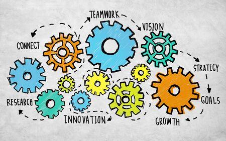 business support: Team Teamwork Doelen-strategie Vision Business Support Concept Stockfoto