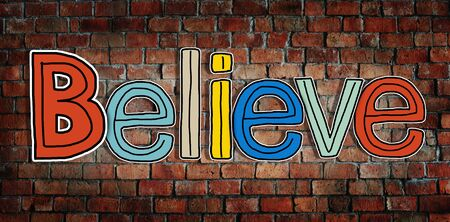 obey: Believe Word and Brick Wall in Background Stock Photo