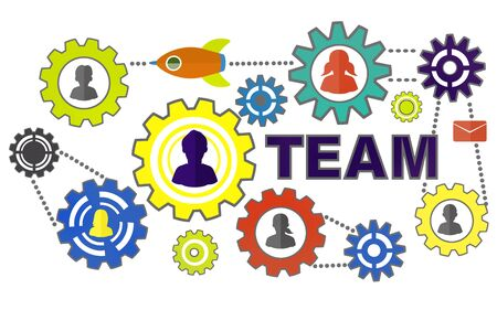 togetherness: Collaborate Connection Togetherness Gear Corporate Team Concept
